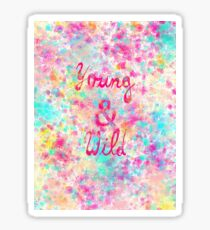Girly neon Pink Teal Abstract Splatter Typography Sticker