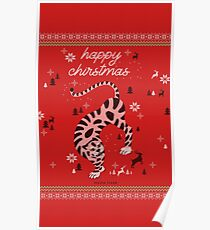 Christmas Happy Tiger Poster