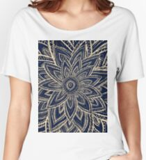 Cute Retro Gold abstract Flower Drawing on Black Women's Relaxed Fit T-Shirt