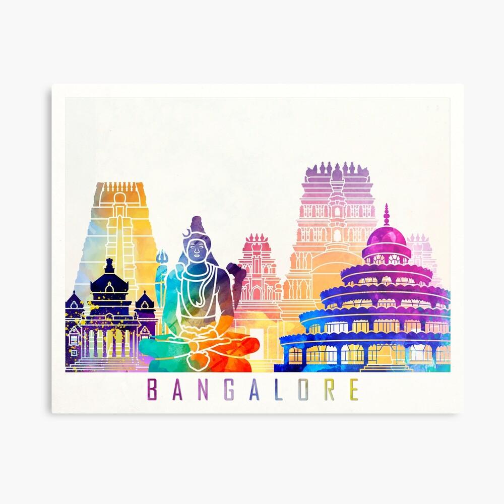 Bangalore-Markstein-Aquarellplakat Metallbild
