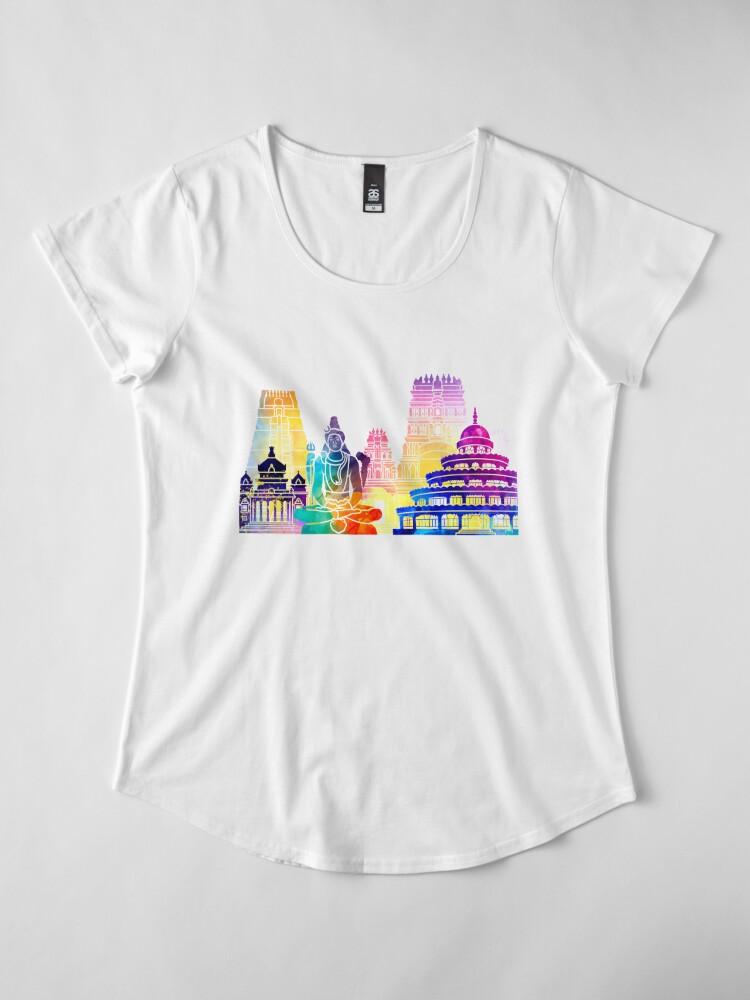 Alternative Ansicht von Bangalore-Markstein-Aquarellplakat Premium Rundhals-Shirt