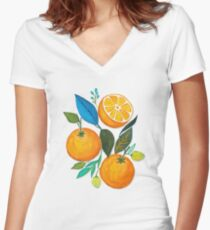 Lady Orange Women's Fitted V-Neck T-Shirt