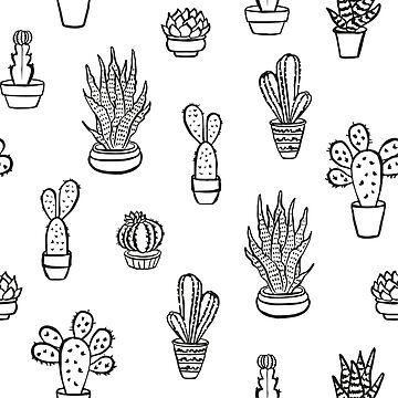 Black and white cacti print in the scandinavian style by alijun