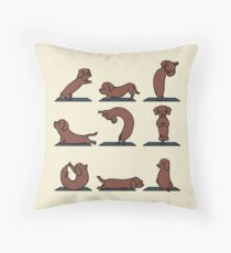 Dachshund yoga Throw Pillow