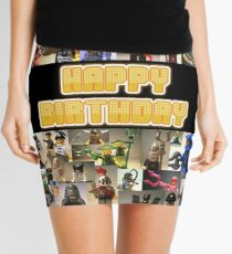 Happy Birthday Greeting Card, Montage of Custom Minifigs Mini Skirt