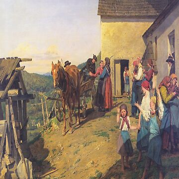 Farewell to the bride by the parents-Ferdinand Georg Waldmüller by LexBauer