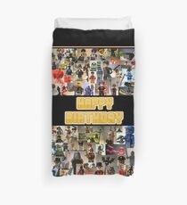 Happy Birthday Greeting Card, Montage of Custom Minifigs Duvet Cover