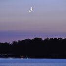 Cresent Moon Over Smith Mountain Lake by BernieG