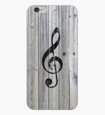 Vintage black music note Treble Clef gray wood iPhone Case