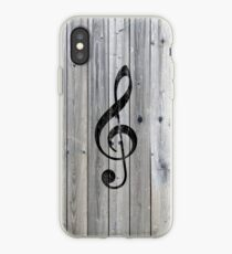 Weinlese-schwarze Musiknote dreifaches Clef graues Holz iPhone-Hülle & Cover