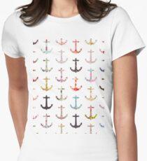Vintage retro sailor girly floral nautical anchors T-Shirt