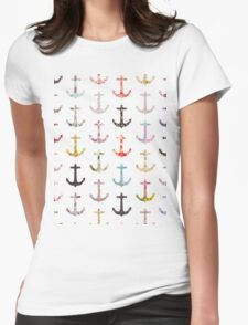 Vintage retro sailor girly floral nautical anchors Womens Fitted T-Shirt