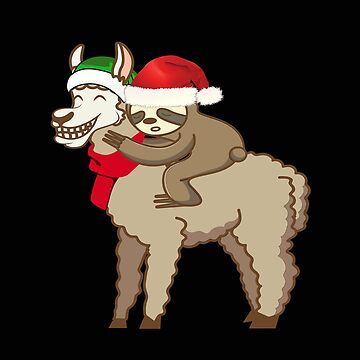 Santa Sloth Riding Llama - Santa Claus Sloth Rides Llama Gift Funny Christmas T-Shirt by MrTStyle