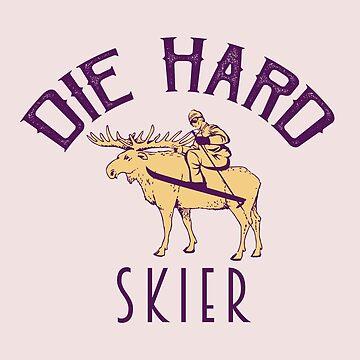 Moose Skier Die-Hard Funny Holiday Present by oceanwaves