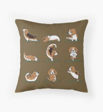 Beagle Yoga Throw Pillow
