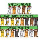 December 24th Birthday, Christmas Eve, Cartoon Cats. by KateTaylor