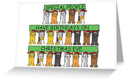 December 24th Birthday Christmas Eve Cartoon Cats