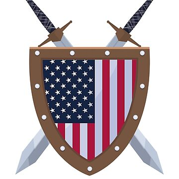 USA Flag Sword and Shield Patriot by adjua