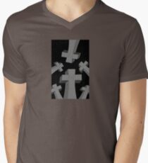 Spooky Scary Graveyard Headstones Men's V-Neck T-Shirt
