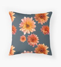 Coral Mum Floral Pattern - Scattered Flowers - Chrysanthemum Bloom Pattern - Real Flowers Throw Pillow