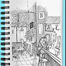 NYC-Sitting with a Cappuccino at a Tribeca cafe by James Lewis Hamilton