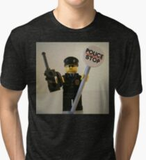 Classic Police Patrol Man Minifigure with Police Stop Sign Tri-blend T-Shirt