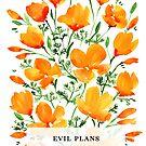 Böse Pläne mit Aquarell-Kalifornien-Mohnblumen von blursbyai