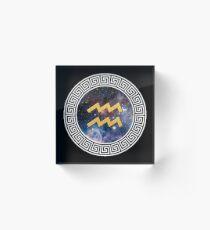 Zodiac Aquarius White/Gold Acrylic Block