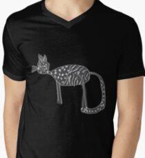 Katzen Liebe T-Shirt mit V-Ausschnitt