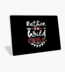 Father of the Wild One Shirt Lumberjack Woodworker Sawdust Buffalo Plaid measure once plaid cabinet maker contractor wood timber working tools Laptop Skin