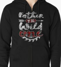 Father of the Wild One Shirt Lumberjack Woodworker Sawdust Buffalo Plaid measure once plaid cabinet maker contractor wood timber working tools Hoodie mit Reißverschluss