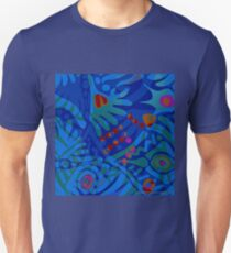 Colorful Tropical Print Abstract in Blue and Green Unisex T-Shirt