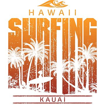Vintage Kauai Surfing Beach Palm Tree Sunset Cool Vacation Souvenir by hlcaldwell