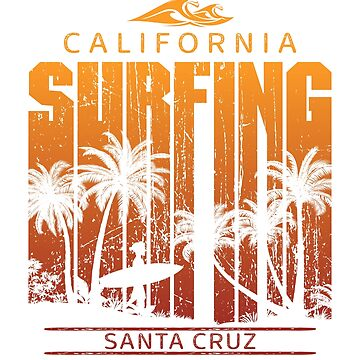 Vintage Santa Cruz Surfing Beach Palm Tree Sunset Cool Vacation Souvenir by hlcaldwell