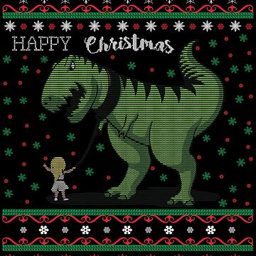 Little girl walks with the T-Rex dinosaur on leash. Gassi Funny Christmas ugly sweater gift by MrTStyle