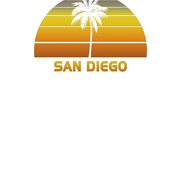 Vintage San Diego Beach Palm Tree Sunset Cool Family Vacation Souvenir by hlcaldwell