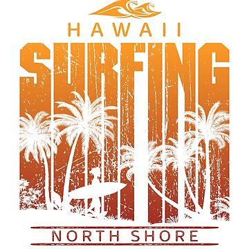 Vintage North Shore Surfing Beach Palm Tree Sunset Cool Vacation Souvenir by hlcaldwell