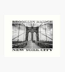 Brooklyn Bridge New York City (black & white with text on white) Art Print