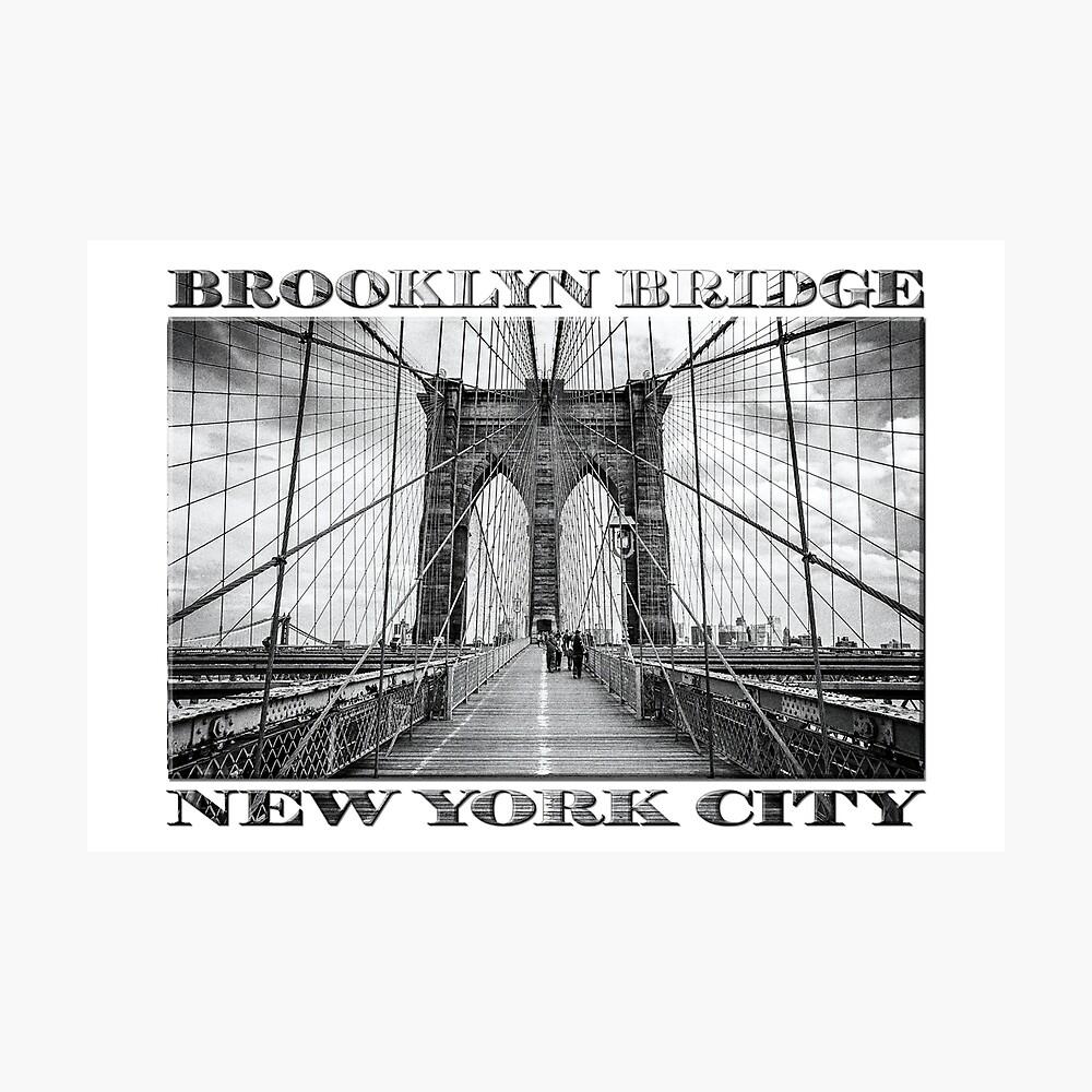 Brooklyn Bridge New York City (black & white with text on white) Photographic Print