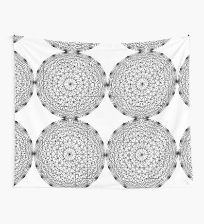 Dynamic Circle Chords II Black Wall Tapestry