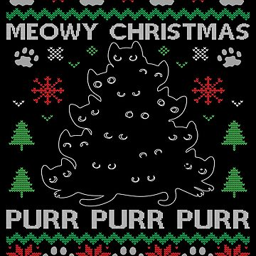 Meowy Christmas Ugly Christmas Sweater - Funny Meow Cats Shirt Cute kitten as a gift idea by MrTStyle