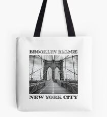 Brooklyn Bridge New York City (black & white with text on white) Tote Bag