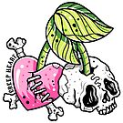 Zombie Rockabilly Skull Cherries by Ella Mobbs