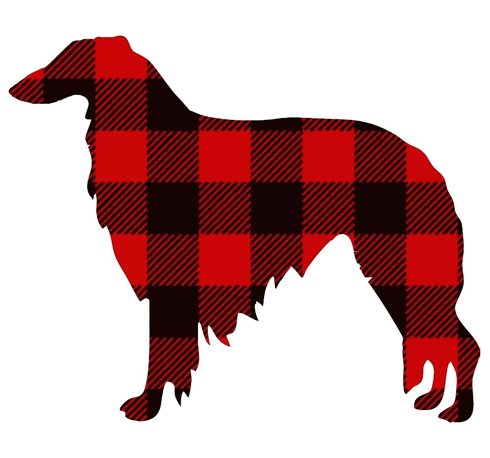 Lodge Borzoi Buffalo Plaid by Happy Dog Swag