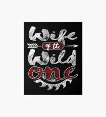 Wife of the Wild One Shirt Lumberjack Woodworker Sawdust Buffalo Plaid measure once plaid pajamas cabinet maker contractor wood timber working tools Galeriedruck