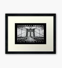Brooklyn Bridge New York City (black & white with text on black) Framed Print