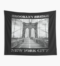 Brooklyn Bridge New York City (black & white with text on black) Wall Tapestry