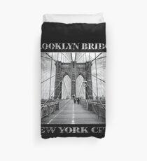 Brooklyn Bridge New York City (black & white poster edition on black) Duvet Cover