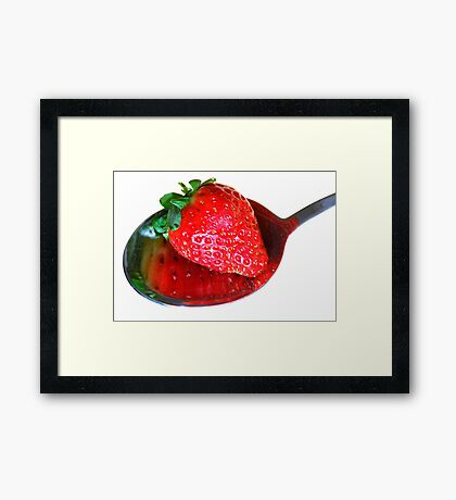A spoonful of strawberry Framed Print