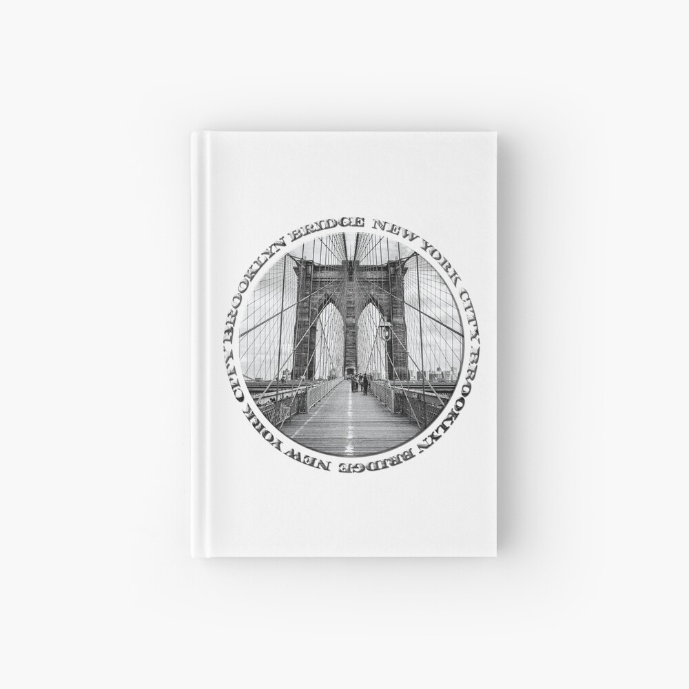 Brooklyn Bridge New York City (black & white badge style on white) Hardcover Journal